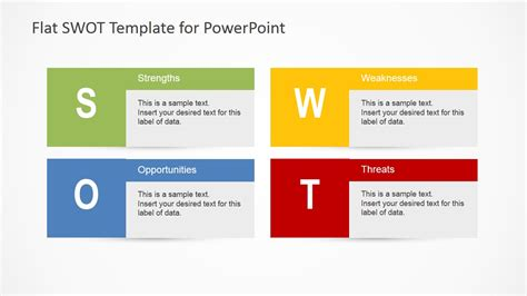 flat swot analysis powerpoint diagram slidemodel