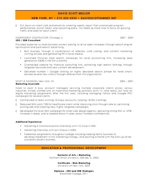 Seo Resume by 10 Marketing Resume Sles Hiring Managers Will Notice