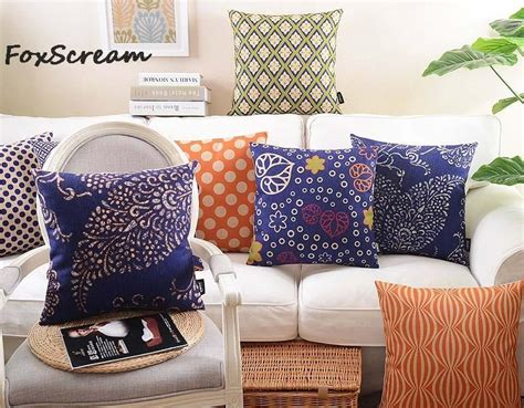Geometric Decorative Throw Pillow Cases,blue Orange Floral