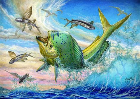 Jumping Mahi Mahi And Flyingfish Greeting Card for Sale by