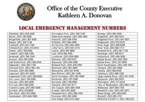 hurricane sandy bergen county emergency numbers shelter