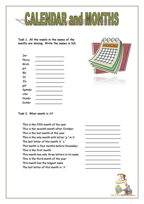 calendar  months worksheet  esl printable