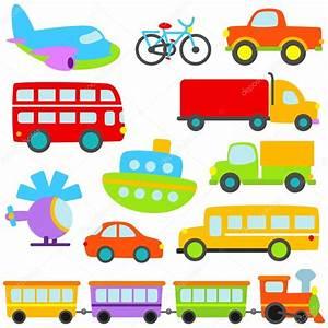 Cartoon Vector Transportation Set — Stock Vector ...