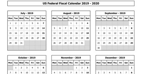 federal fiscal calendar   excel template