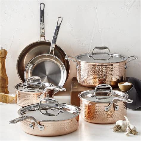 lagostina copper martellata  piece cookware set williams sonoma