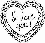 Coloring Cards Valentines Printable sketch template