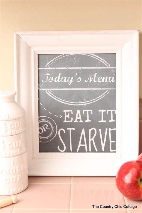 todays menu kitchen art printable   country chic