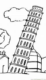 Pisa Tower Leaning Coloring Printable Coloringpages101 Sightseeing sketch template