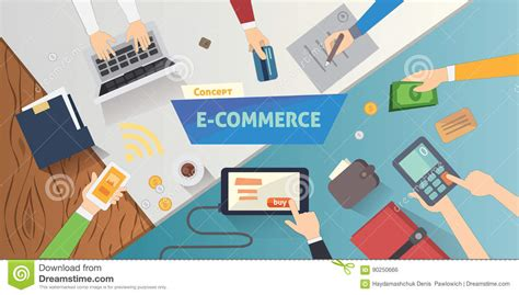 flat style online e commerce icons mobile store banner