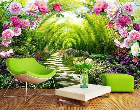 custom photo mural  wallpaper garden shade flower