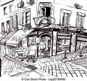 Stock Illustration of hand draw paris coffee shop on paper ...
