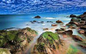 seaside, coastline, red, rocks, with, green, moss, turquoise