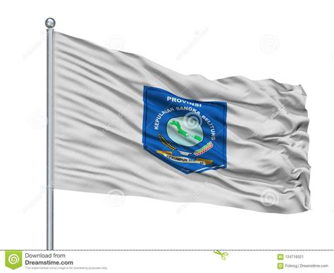 bangka belitung city flag  flagpole indonesia isolated