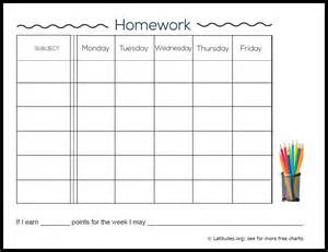 Free Printable Weekly Homework Chart