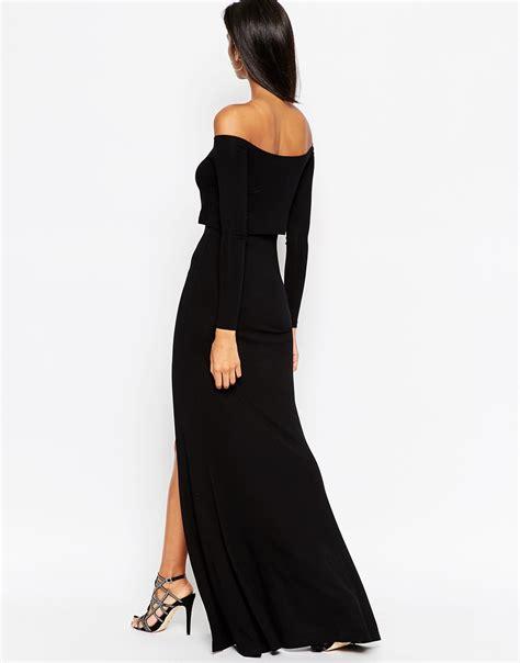 Lyst - Asos Long Sleeve Crop Top Bardot Maxi Dress With