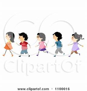 Walking In Line Clipart - Clipart Kid