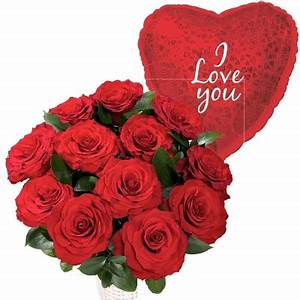 12 Red Roses with I Love you Balloon | Flowers Delivery 4 ...
