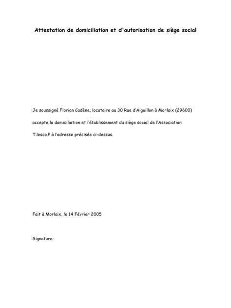 domiciliation siege social attestation de domiciliation pdf par saddam fichier pdf