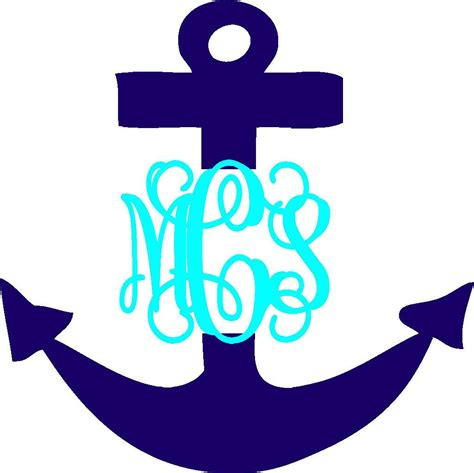 anchor vinyl personalized monogram decal stickers   etsy vinyl personalized