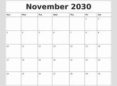 November 2030 Blank Calendar Printable
