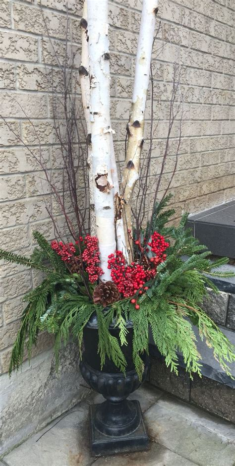 diy christmas planters  birch wood branches