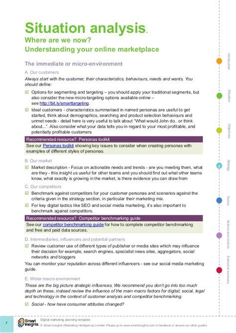situational analysis template digital marketing plan template