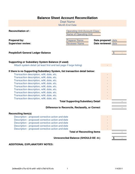 General Ledger Reconciliation Resume by Account Reconciliation Template Best Business Template