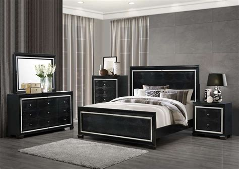 super modern black bedroom set  crocodile upholstery