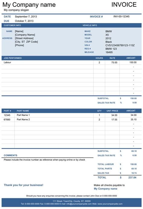 vehicle repair invoice office life invoice template