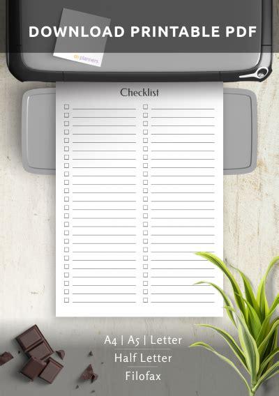 printable blank checklist template