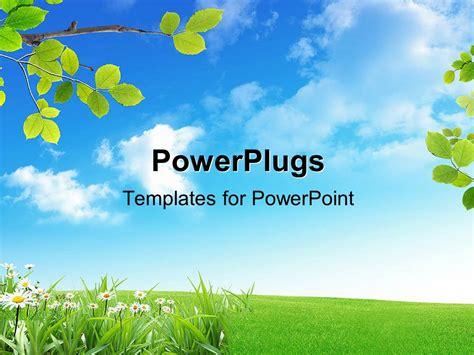 powerpoint template  green field   lot  flowers