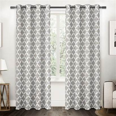 Curtains Geometric Grey Grommet Drapes Wayfair Overstock
