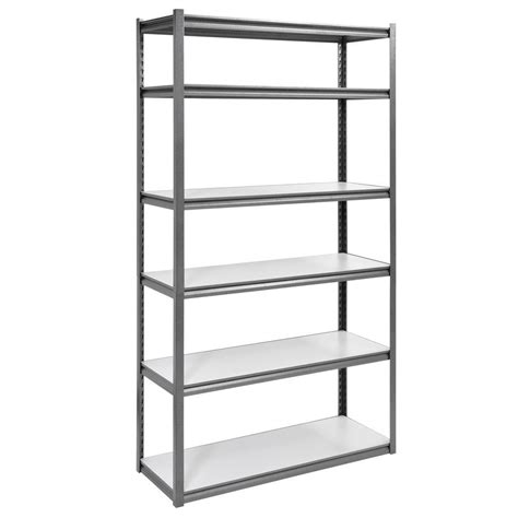 White Metal Storage Shelves by Edsal 84 In H X 48 In W X 18 In D 6 Shelf Steel Storage