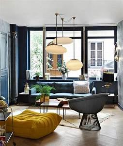 deco salon amenager un salon scandinave canape mur With idee parquet salon