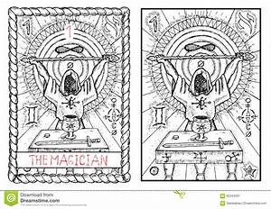 Tarot Magician Holding Magic Fire Cards Of Fate Stock ...