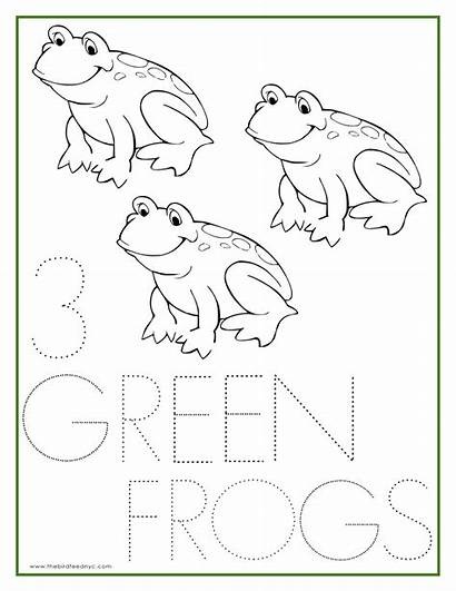 Coloring Number Pages Three Sheets Sheet Frogs
