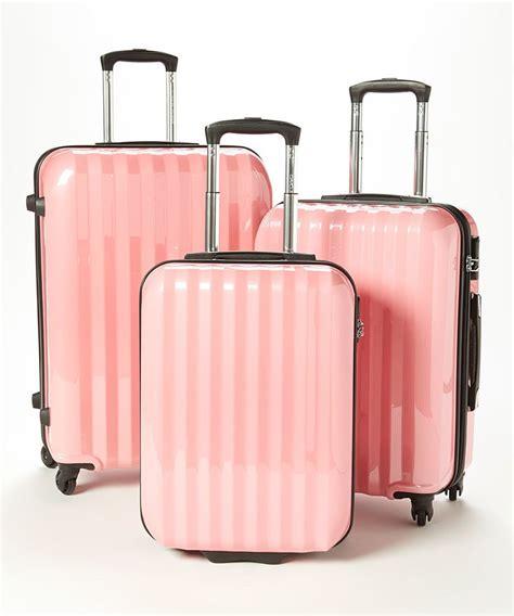 light pink suitcase pink wheeled three luggage set