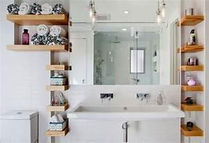 Etagere En Bois Salle De Bain : tag res salle de bain 24 id es pour des tag res ouvertes ~ Dailycaller-alerts.com Idées de Décoration