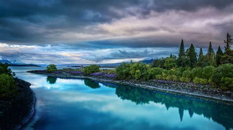 Evening On The Blue Lake Tekapo Desktop Wallpaper Hd