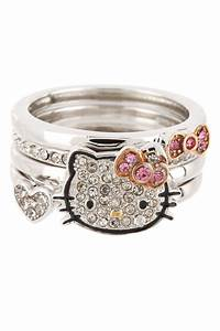 crystal pave hello kitty ring stack set hello kitty With hello kitty wedding ring set