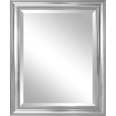 bathroom mirror  silver frame hangs vertically
