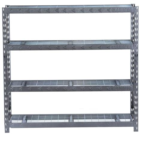 home depot shelfs gladiator 73 in h x 77 in w x 24 in d 4 shelf welded