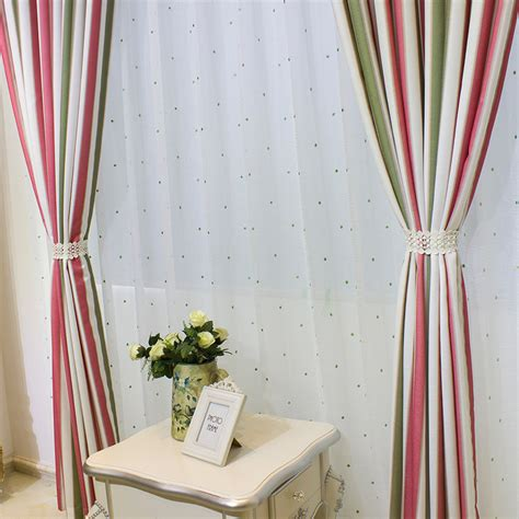 custom green pink room darkening striped curtains