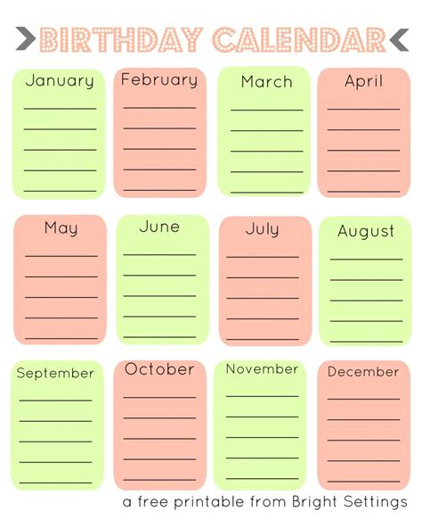 birthday list template  word editable excel guest