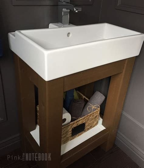 Ikea Small Sink Vanity by Remodelaholic Build A Simple Open Vanity For An Ikea Sink