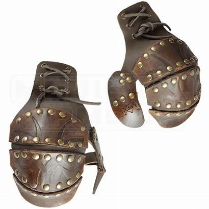 Half Viking Leather Gauntlets Armour Medieval