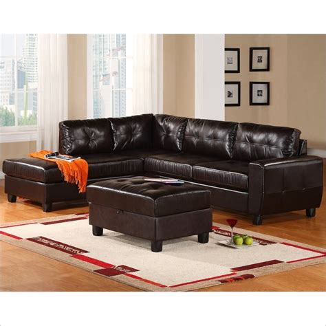 espresso leather sectional sofa global furniture u5190 leather 2 piece sectional sofa