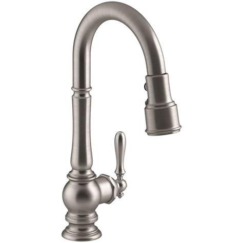 kohler artifacts single handle pull down sprayer kitchen faucet in vibrant stainless k 99261 vs