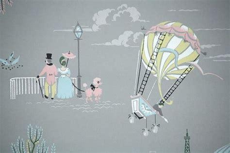 vintage wallpaper paris scenes pink poodle eiffel