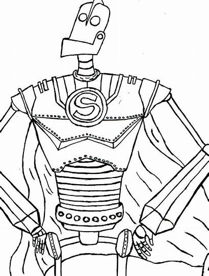 Coloring Giant Iron Pages Printable Robot Printables